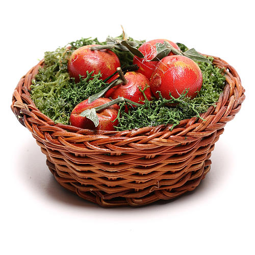 Round basket with apples for Neapolitan Nativity scene of 24 cm 3