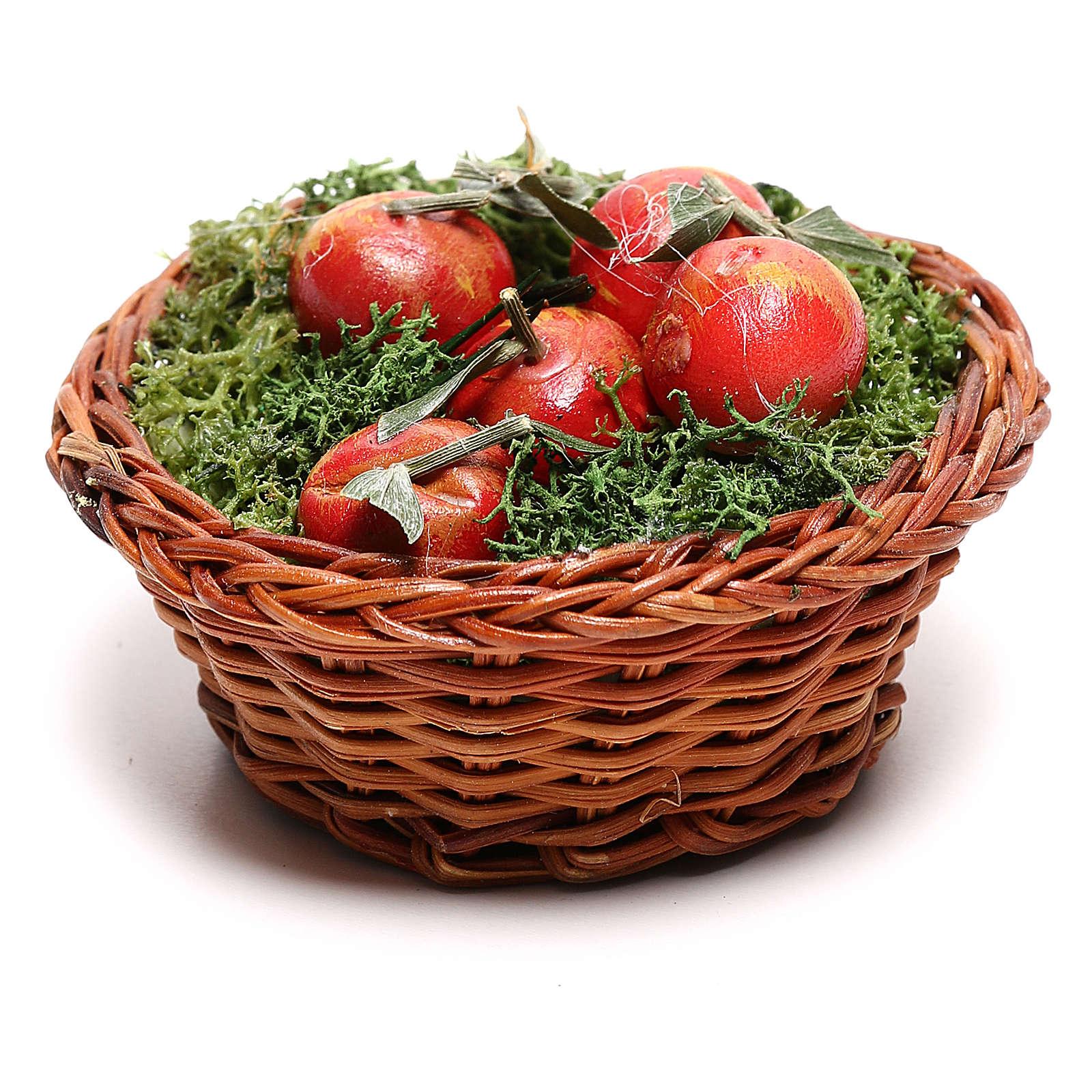 Cesta redonda con manzanas para belén napolitano de 24 cm 4