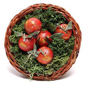 Cesta redonda con manzanas para belén napolitano de 24 cm s2