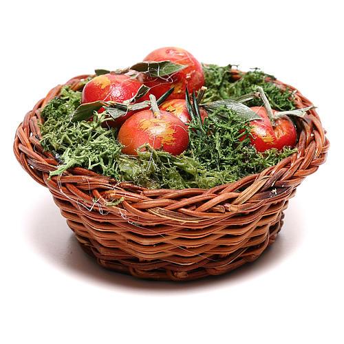 Cesta redonda con manzanas para belén napolitano de 24 cm 1