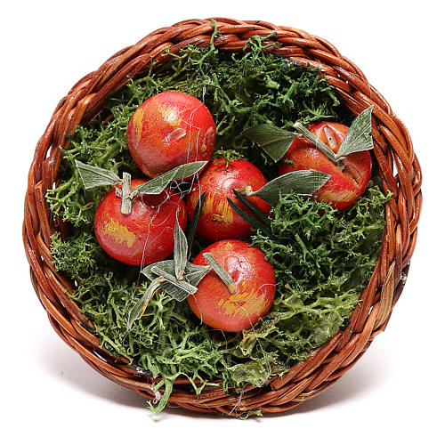 Cesta redonda con manzanas para belén napolitano de 24 cm 2