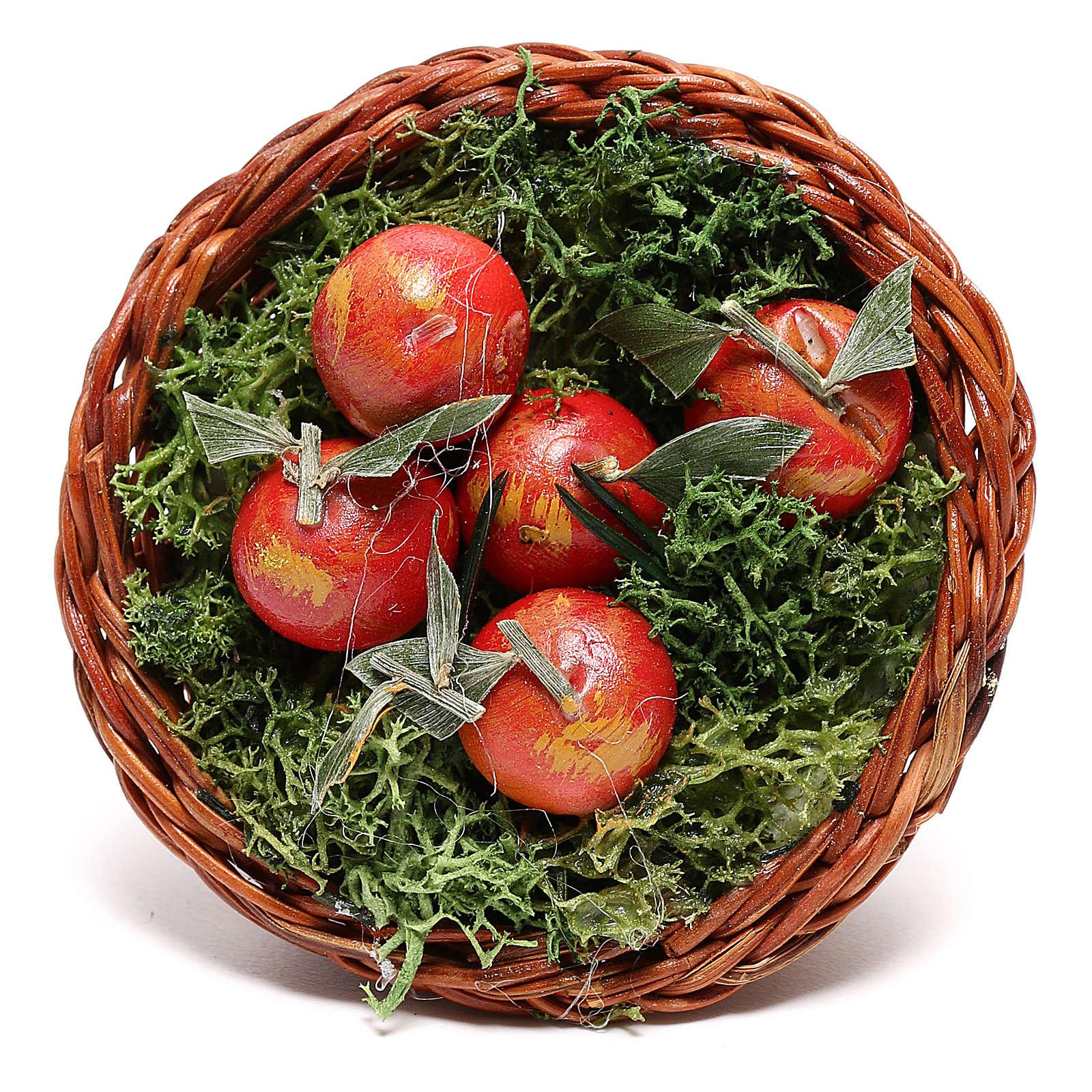 Cesto tondo con mele per presepe napoletano di 24 cm 4