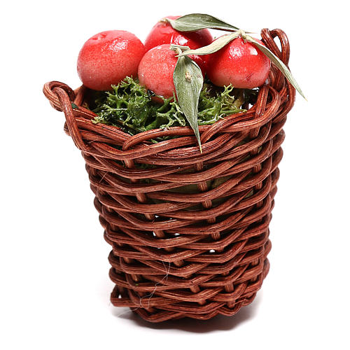 Long basket with apples for Nativity Scene of 24 cm 1