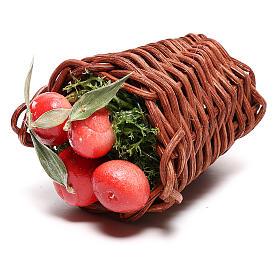Cesta larga con manzanas para belén napolitano de 24 cm s2