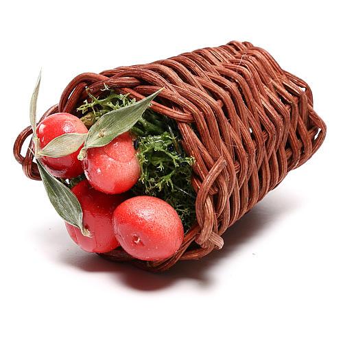 Cesta larga con manzanas para belén napolitano de 24 cm 2