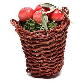 Cesto lungo con mele per presepe napoletano di 24 cm s1