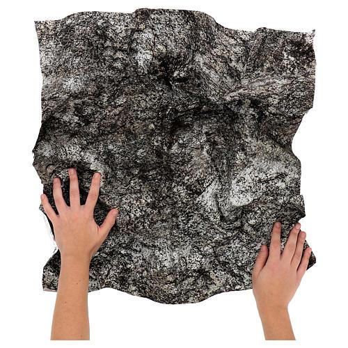 Modellierbares Papier für Krippe Stein-Effekt mit Schnee 60x60cm 2