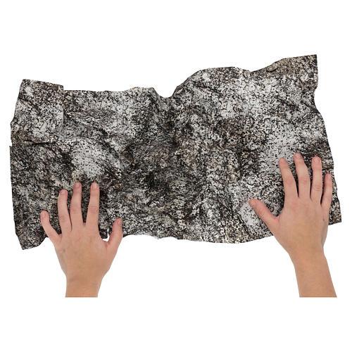 Modellierbares Papier für Krippe Stein-Effekt mit Schnee 60x30cm 2