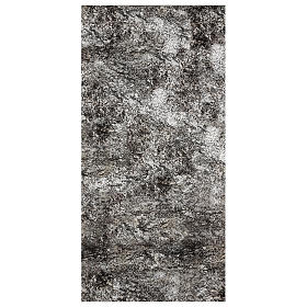 Nativity backdrop paper, snow covered rock 120x60 cm s1
