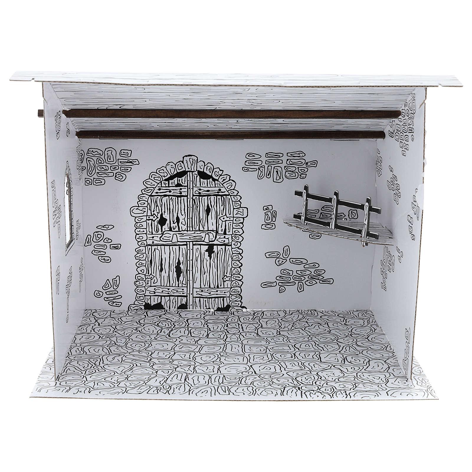Cabane crèche en carton 3D DIY 4