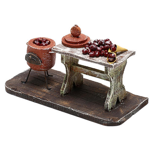 Table and pot with chestnuts Nativity scenes 12 cm 2