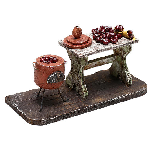 Table and pot with chestnuts Nativity scenes 12 cm 3
