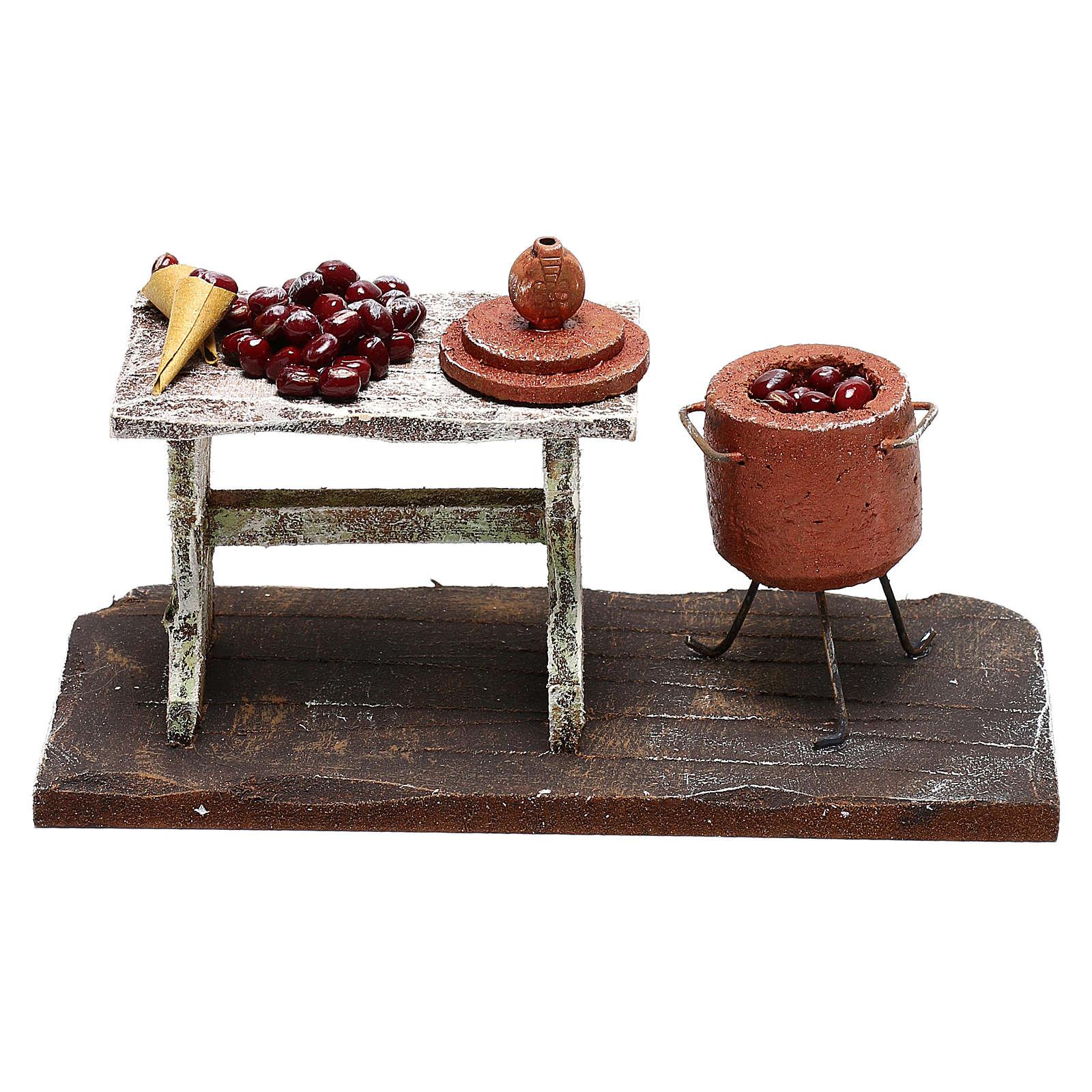 Table et casserole avec châtaignes crèche 12 cm 4