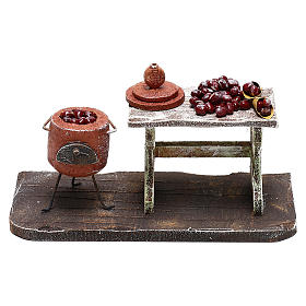 Comida em Miniatura para Presépio: Mesa e panela com castanhas para presépio com figuras de 12 cm de altura média