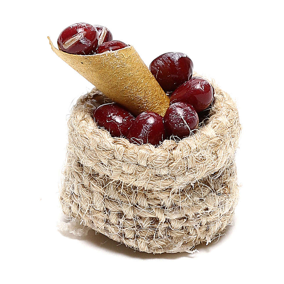 Chestnut basket for Nativity scene 10 cm 4