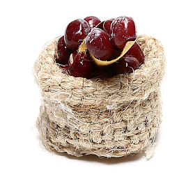Chestnut basket for Nativity scene 10 cm s2