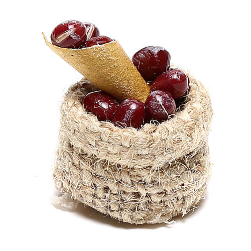 Chestnut basket for Nativity scene 10 cm 1