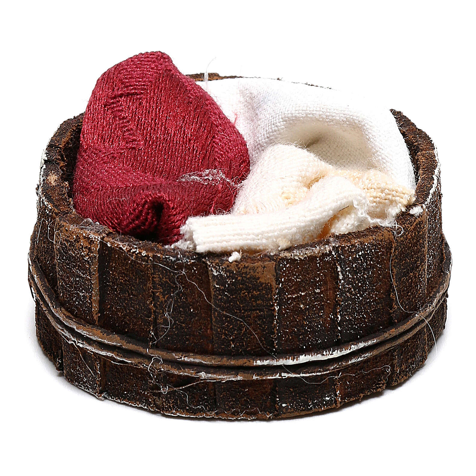 Basket with cloths Nativity scene 10 cm 4