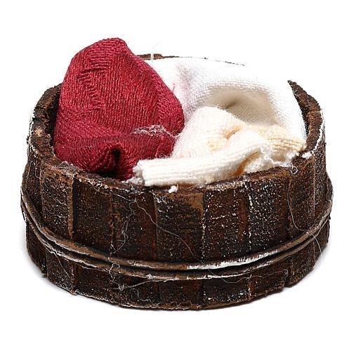 Basket with cloths Nativity scene 10 cm 1