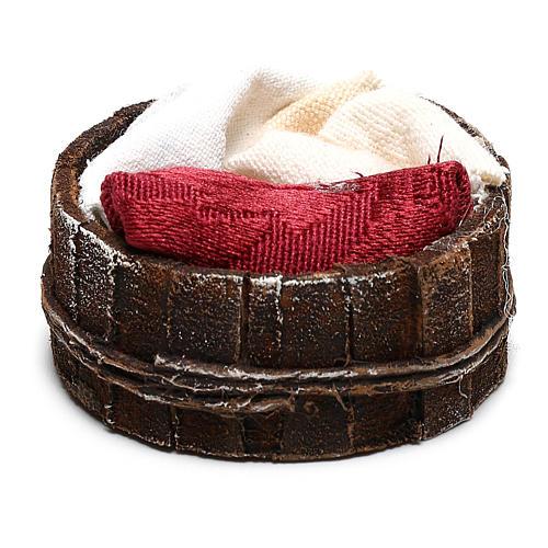 Basket with cloths Nativity scene 10 cm 2