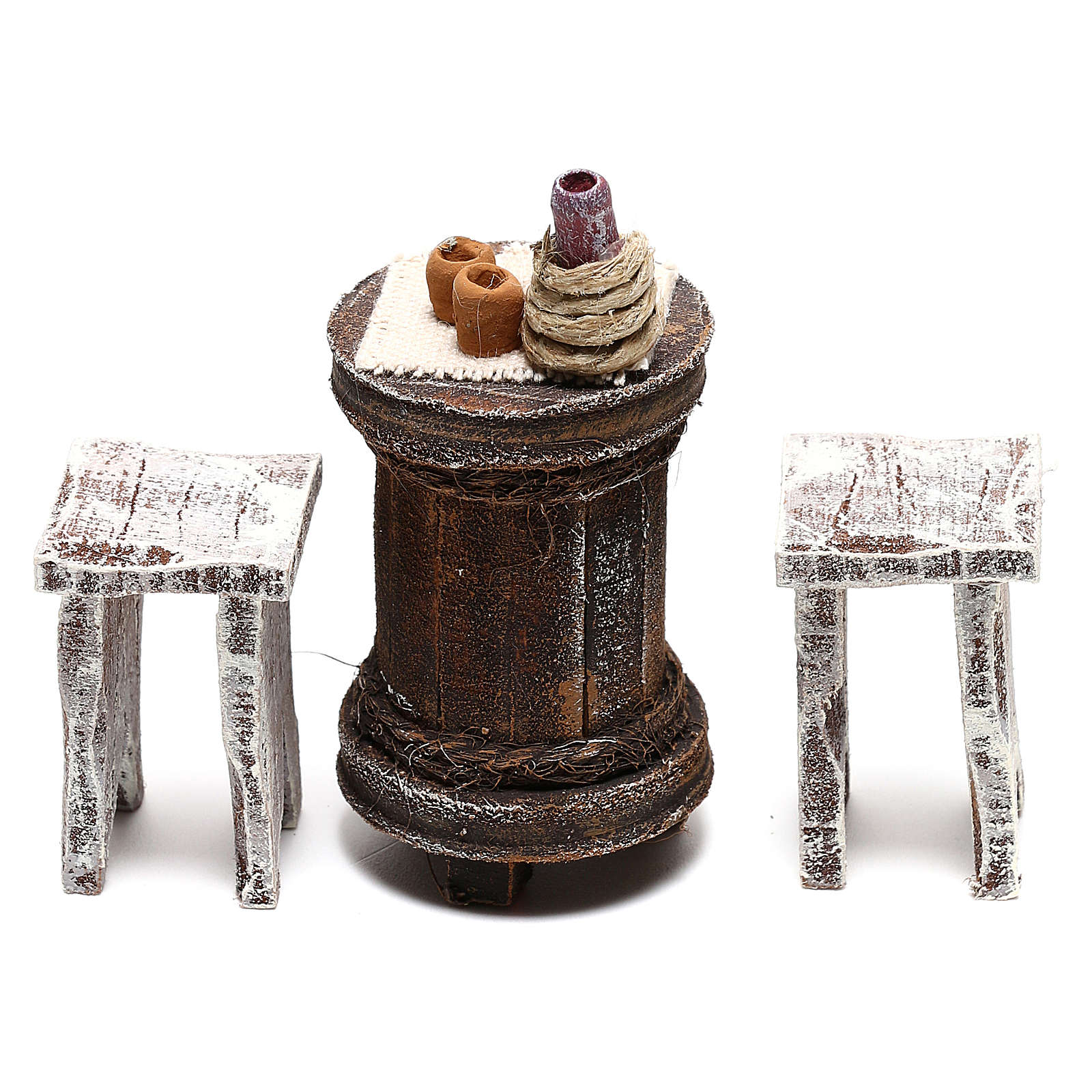 Round table with stools Nativity Scene 10 cm 4