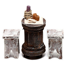 Round table with stools Nativity Scene 10 cm s1
