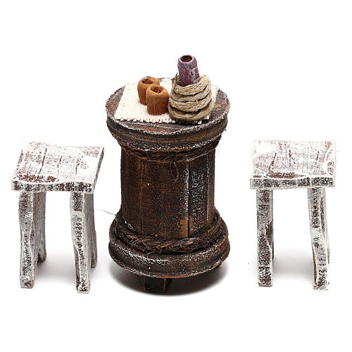 Round table with stools Nativity Scene 10 cm 2