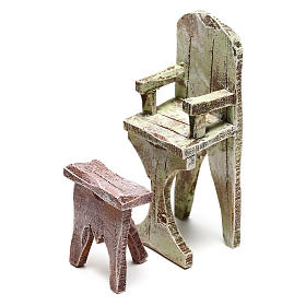 Barber chair with footrest Nativity scene 10 cm s2