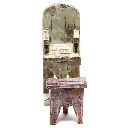 Barber chair with footrest Nativity scene 10 cm 1
