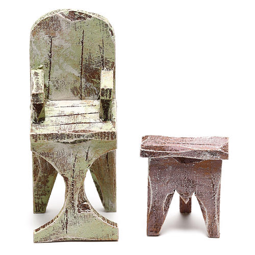 Barber chair with footrest Nativity scene 10 cm 3