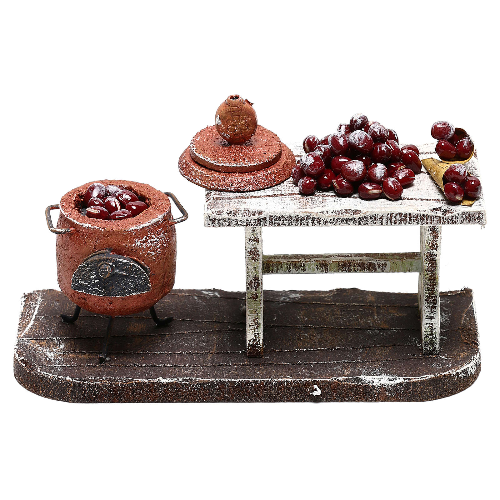 Pot and table with chestnuts Nativity Scene 10 cm 4