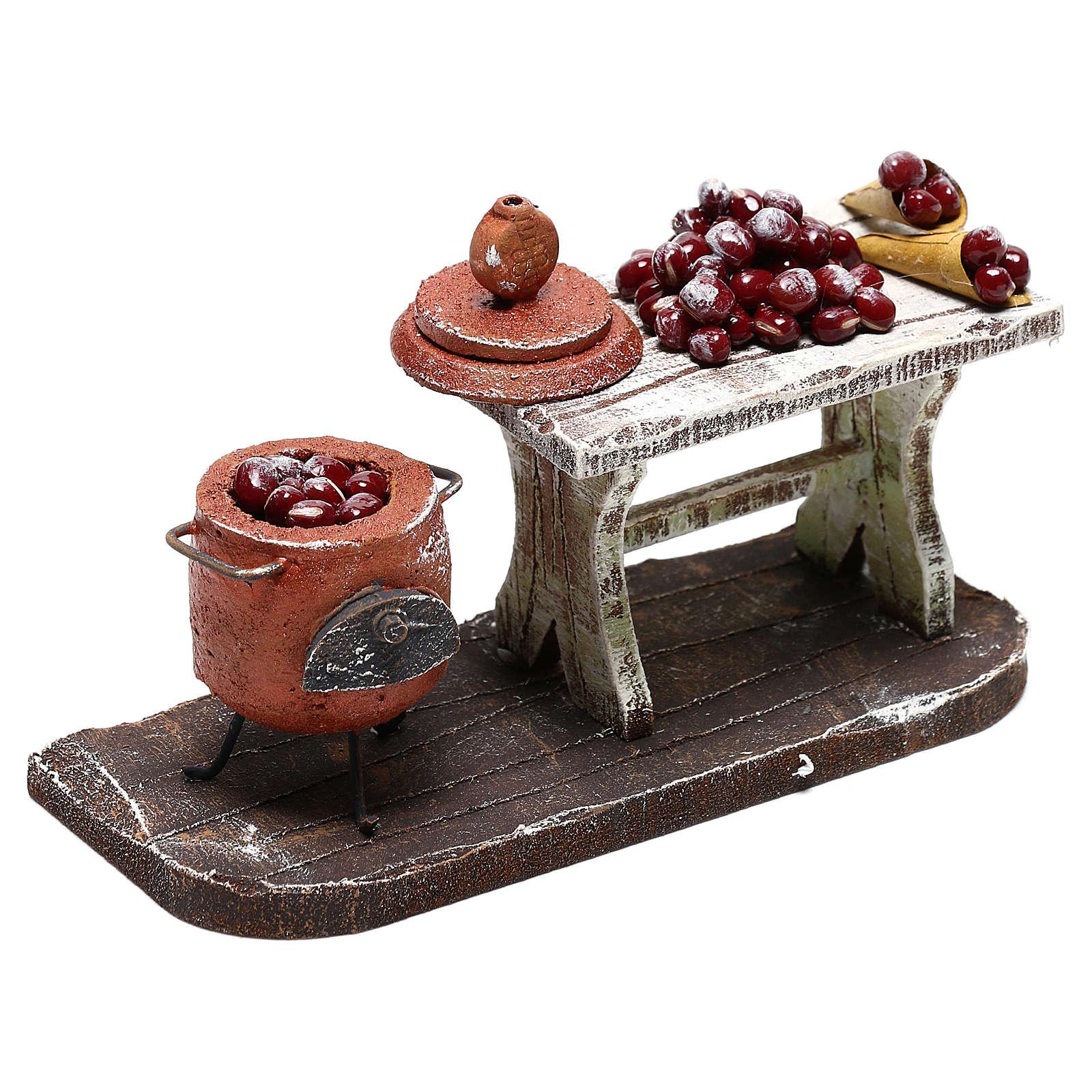 Escena olla y mesa castañas belén 10 cm 4