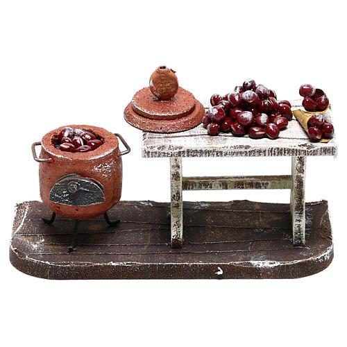 Scène casserole et table châtaignes crèche 10 cm 1