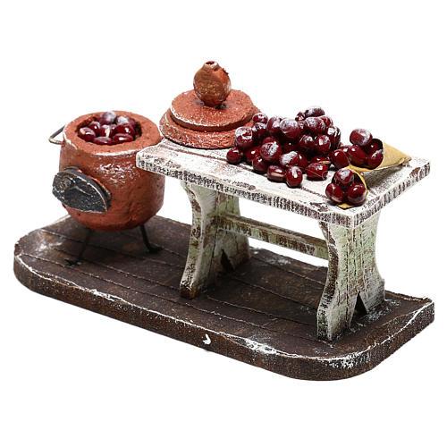 Scène casserole et table châtaignes crèche 10 cm 2