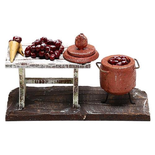 Scène casserole et table châtaignes crèche 10 cm 4