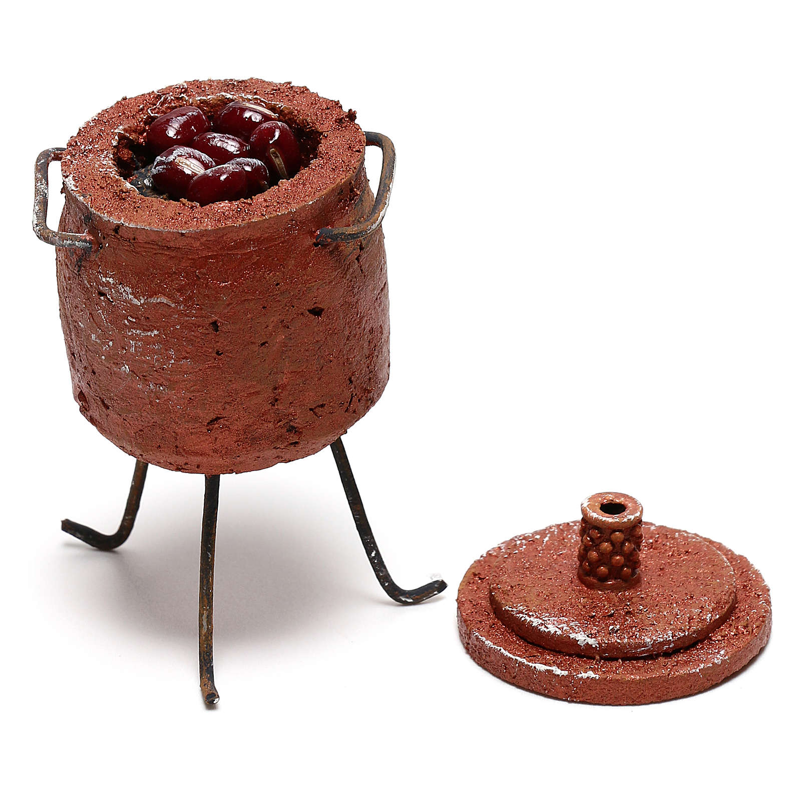 Pot with chestnuts and lid Nativity scene 12 cm 4
