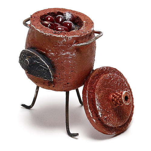 Pot with chestnuts and lid Nativity scene 12 cm 2