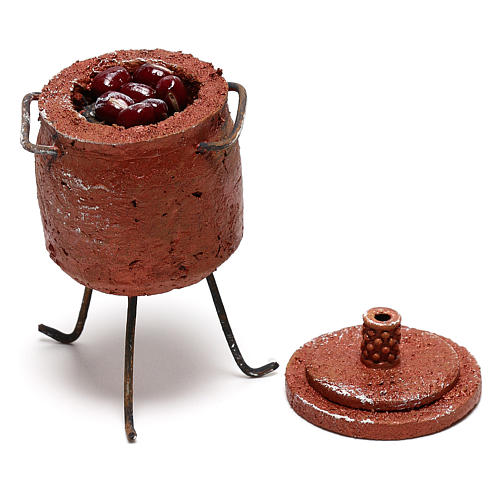 Pot with chestnuts and lid Nativity scene 12 cm 3