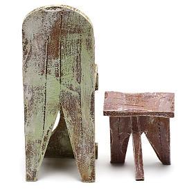 Chaise et repose-pied barbier crèche 12 cm s4
