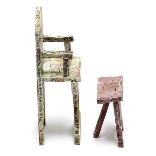 Chaise et repose-pied barbier crèche 12 cm 3