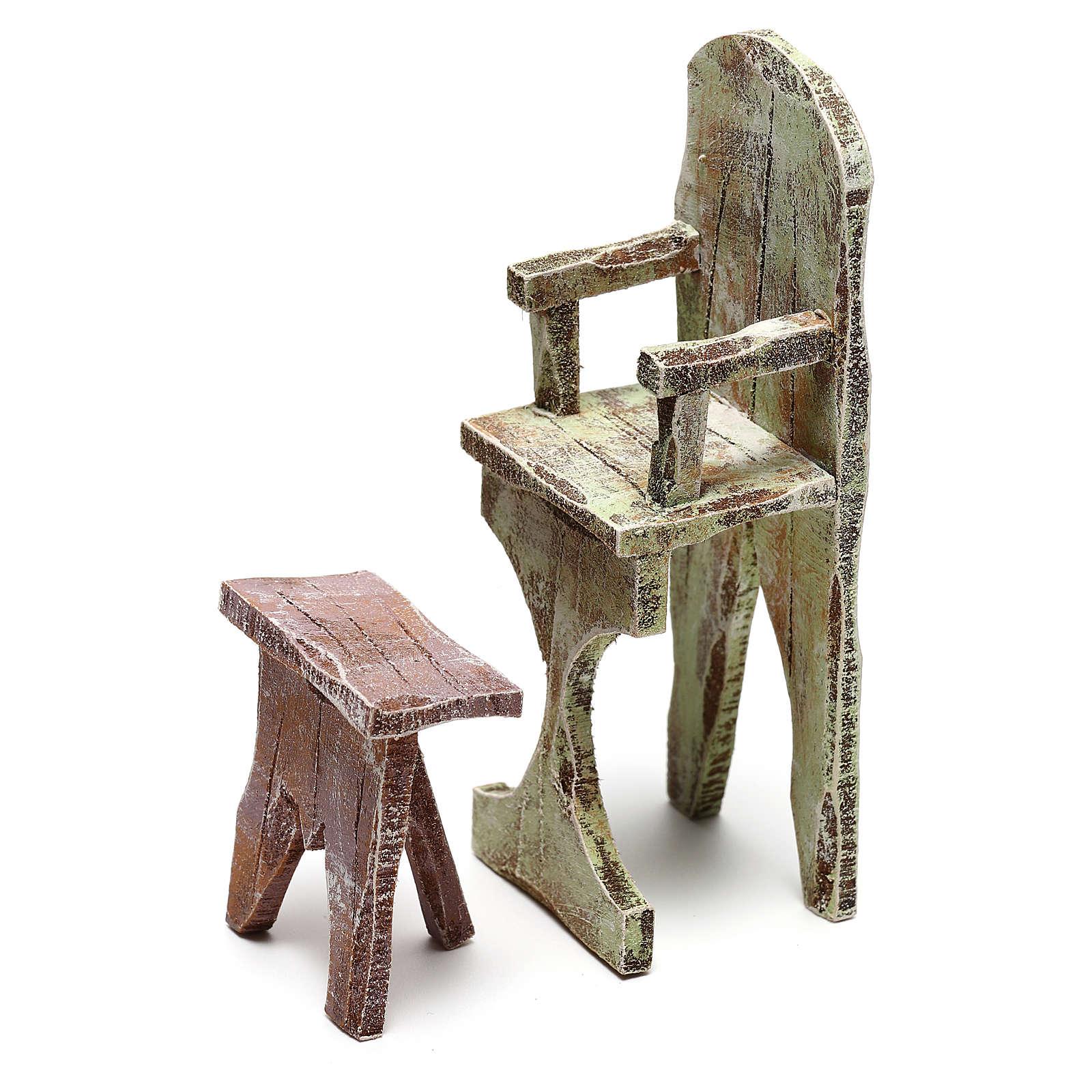 Sedia e poggiapiedi barbiere presepe 12 cm 4
