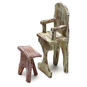 Sedia e poggiapiedi barbiere presepe 12 cm s2