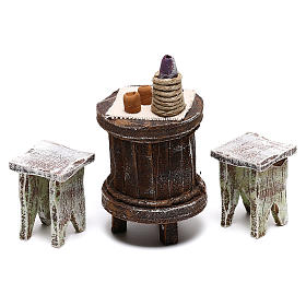 Mesa madera redonda y sillas belén 12 cm s2