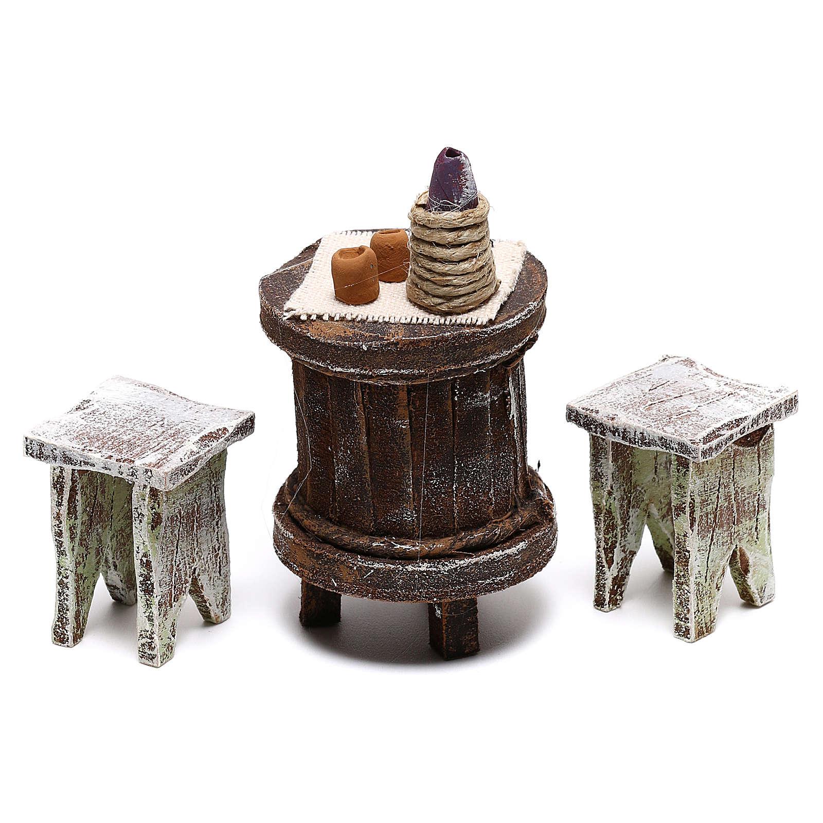 Table bois ronde et chaises crèche 12 cm 4