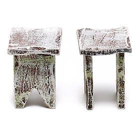 Tavolo legno rotondo e sedie presepe 12 cm s4
