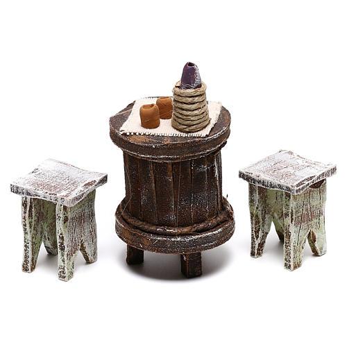 Tavolo legno rotondo e sedie presepe 12 cm 2