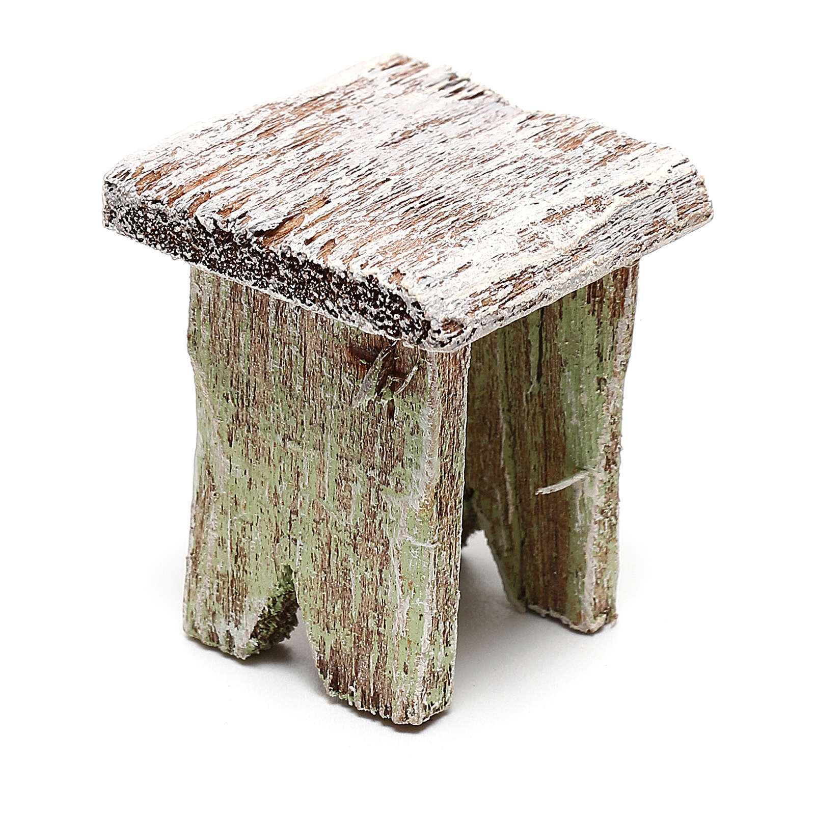 Taburete madera para belén de 12 cm hecho con bricolaje 4