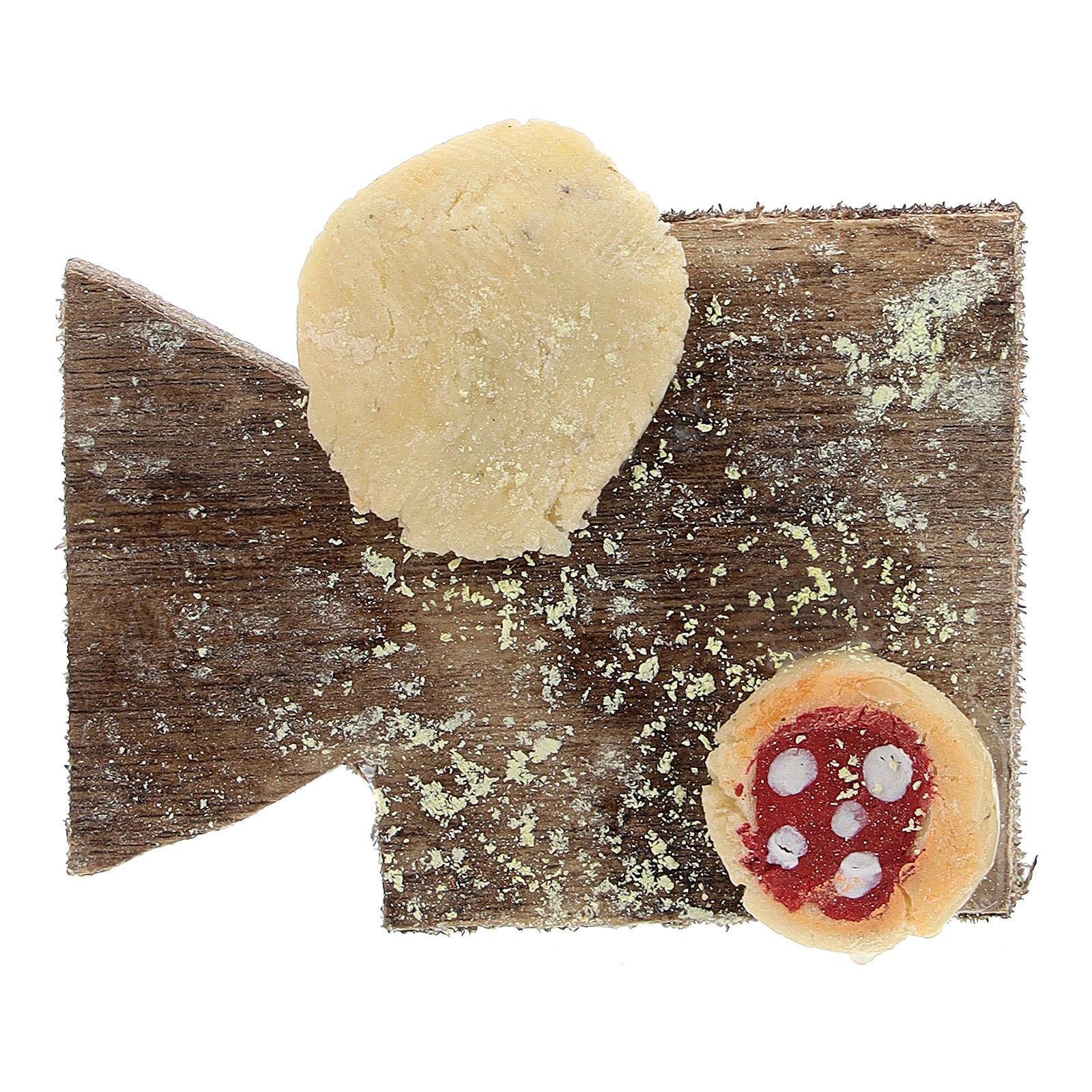 Cutting board with pizza and bread Nativity Scene 12 cm 4