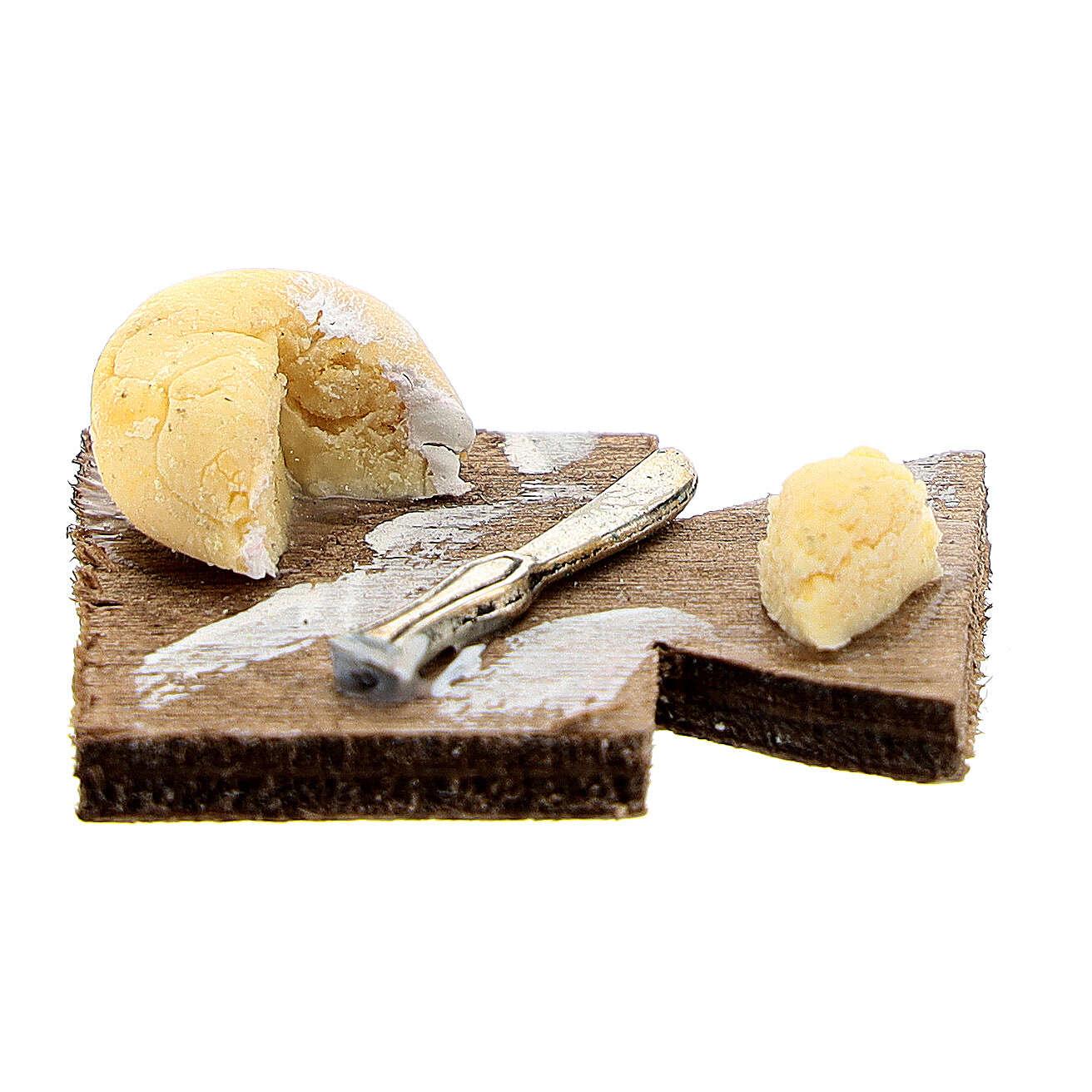 Tagliere coltello e caciotta presepe napoletano 12 cm 4