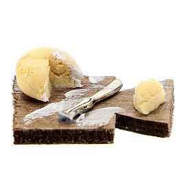 Tagliere coltello e caciotta presepe napoletano 12 cm s1